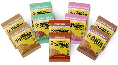 Honey Stinger Gluten Free Organic Waffles – Variety Pack With Sticker – 10 Count – Energy Source for Any Activity – Vanilla & Chocolate, Wildflower Honey, Chocolate Mint, Salted Caramel & Cinnamon