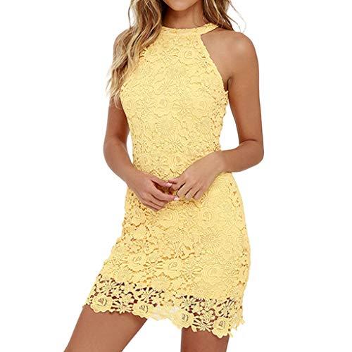 Vectry Vestido Halter Vestidos De Fiesta Cortos Elegantes Vestidos Playa Mujer Vestidos Mujer Vestidos Espalda Descubierta Vestidos Amarillo