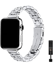STIROLL Thin Replacement Band Compatible for Apple Watch 38mm 40mm 42mm 44mm, Stainless Steel Metal Wristband Women Men for iWatch SE Series 6/5/4/3/2/1