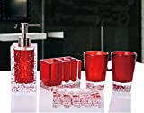 AMSS 5 Piece Stunning Bathroom Accessories Set in Crystal Like Acrylic Tumbler Dispenser Soap Dish Cups,Red