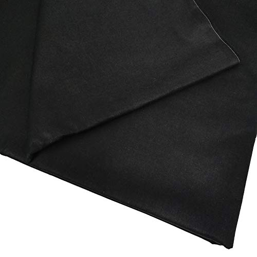 "ZAIONE Solid Color 100% Cotton Fabric Pre Cut by The Yard Width 62"" Soft Twill Fabric Clothes Dress Shirt Quilting Sewing Patchwork DIY Craft (Black)"