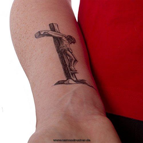 2 x Jesus Christus Kreuz Tattoo - schwarzes Kreuz Tattoo (2)