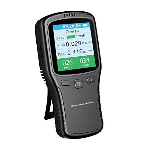 BXU-BG Tragbarer Luftqualitätsmonitor Pollution Meter-Sensor-Prüfvorrichtung, genauer Detektor Innen mit buntem LCD-Bildschirm und Halter for Formaldehyd (HCHO) VOC PM2.5 PM10