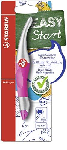 Ergonomischer Tintenroller für Rechtshänder - STABILO EASYoriginal metallic in neonpink/meltallic - Einzelstift - Schreibfarbe blau (löschbar) - inklusive Patrone