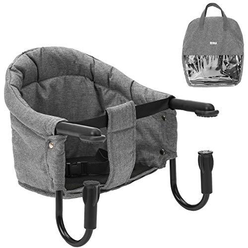 Fillikid Siège de table pour bébé pliable avec pinces antidérapantes et sac de transport pour enfant Gris