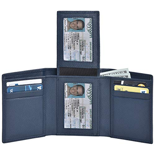 Navy RFID Leather Front Pocket Wallets for Men 9 Cards 2 ID Slim Trifold Wallet
