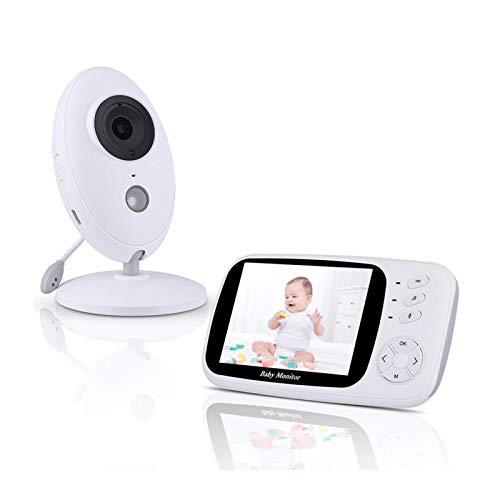 HKD Monitor de Bebé Inteligente con Pantalla LCD de 3.5', Cámara Bebe con Visión Nocturna y Monitoreo de Temperatura, Comunicación Bidireccional, Recargable