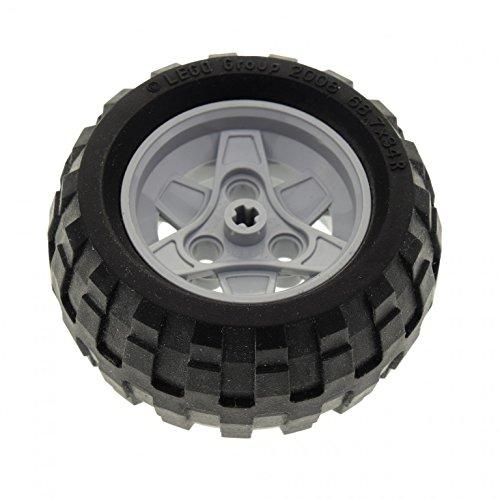 Bausteine gebraucht 1 x Lego Technic Rad schwarz 68.7 x 34 R Reifen Felge hell grau 43.2mm D. x 26mm mit 3 Pin Löcher Technik Auto Fahrzeug Set 8048 8262 8049 (41896 / 61480) 41896c03
