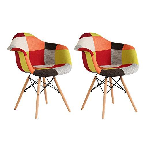 MIFI Esszimmerstühle 2er Set Stuhl Esszimmerstuhl Patchwork Design Klassiker Patchwork Sessel Retro Barstuhl Wohnzimmer Küchen Stuhl Esszimmer Sitz Holz Leinen (Rot)