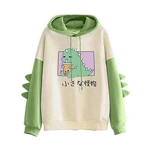 Pianshanzi Hoodies - Sudadera con capucha para adolescentes y niñas con estampado de patchwork, de manga larga, con capucha, B verde., S