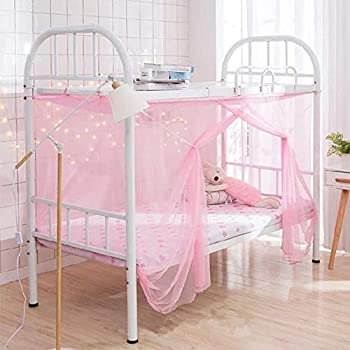 Mengersi Student Bed Canopy Bunk Bed Nets Bed Canopy Fly Screen Square Bed Curtains Mosquito Nets for Teens Indoor Outdoor  Twin Pink