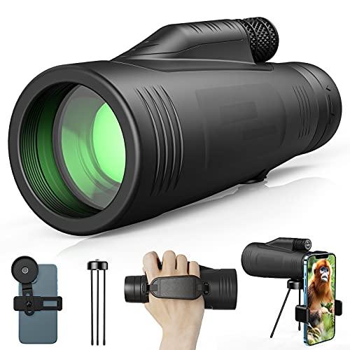 Gafild Monocular, 12 x 50 HD Impermeable Monocular Telescopio Portatil Monocular Largo Alcance con Adaptador de Soporte para Smartphone y Trípode para Viajes de Caza, Juego de Pelota, Concierto