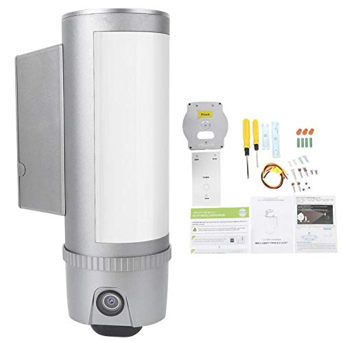 CCTV con visión Nocturna por Infrarrojos, cámara WiFi con Sensor de Movimiento PIR de 180 ° y detección de 64 áreas Focos LED Integrados de 2400 LM Nivel de protección IP55 para el hogar