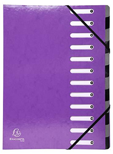 Exacompta 53926E Premium Ordnungsmappe Iderama. Aus beschichtetem Colorspan-Karton DIN A4 12 vollfarbige Fächer, dehnbarer Rücken und 2 Gummizüge mit Indexfenstern Register-Mappe violett