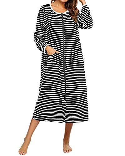 SUNNYME Damen Nachthemd Baumwolle Langarm Streifen Nachthemden mit Reißverschluss Lange Bademantel Taschen Nachtwäsche Schwarz M