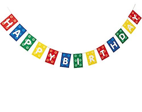 Feliz cumpleaños Lego bloques de construcción para niños pancarta decorativa para fiesta partes