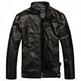 WULFUL Men's Vintage Stand Collar Leather Jacket Motorcycle PU Jacket and Coat by