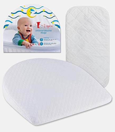 Bassinet Baby Wedge Pillow with Waterproof Changing Pad and Removable Cotton Cover by Aripino for Acid Reflux | Baby Wedge Sleep Positioner | Infant Pillow Newborn Wedge | Wedge Pillow Baby