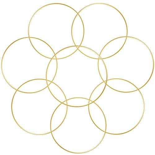 Sntieecr 8 Stück Gold Metall Floral Ring Reifen, Gold Metall Floral Reifen Kranz für die Herstellung Hochzeit Kranz Dekor, Traumfänger und Makramee Wandbehang Handwerk (20 cm)