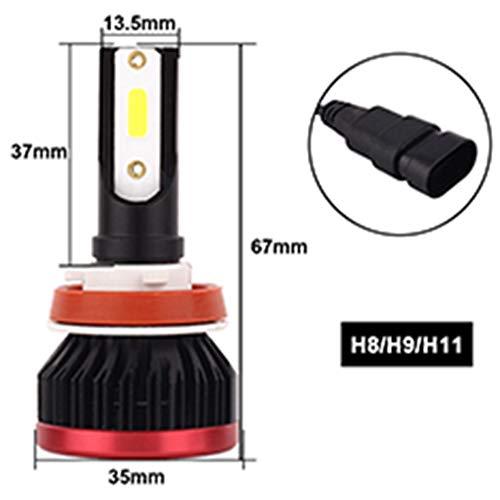 Ampoules de phare H8 / H9 H11 LED, puces de lampe de projecteur 72W 8000LM 6500K de phare de voiture, kit de conversion de projecteur antibrouillard, faisceau élevé/faible, ampoule avant automatique