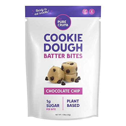 Pure Crumb Cookie Dough Batter Bites - Low Sugar (1g), Vegan, Gluten-Free and Dairy-Free (Chocolate Chip, 1.48 Ounce (Pack of 12))