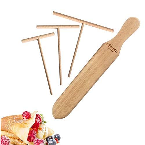 Natural Wood Crepe Spreader and Spatula Set - Fit Any Crepe Pan Maker - Natural Beechwood - 4 Piece (3.5 inch, 4.75 inch, 7 inch Spreaders and 13.5 inch Spatula)