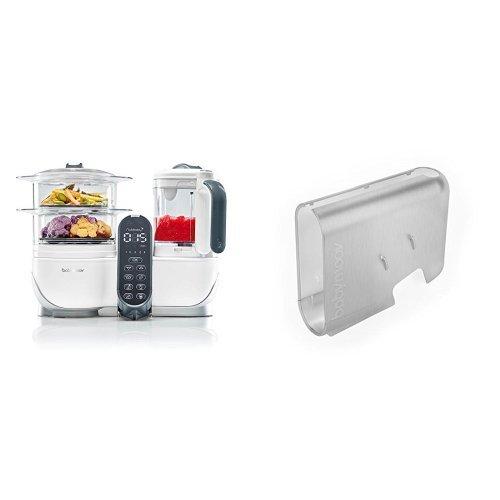 Babymoov Nutribaby (+) loft white - Multifunktions Küchenmachine + Babymoov Displaygehäuse Nutribaby (+) gebürsteter Alu-Effekt