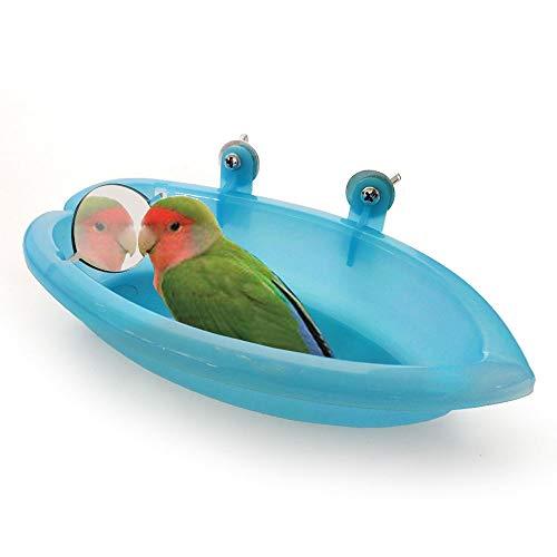 Amasawa Bañera de Plástico para Pájaros con Espejo, para Loros de Mascotas Bañera de Baño Caja de Baño Accesorios de Bañera para Ducha de Pájaros (Azul)
