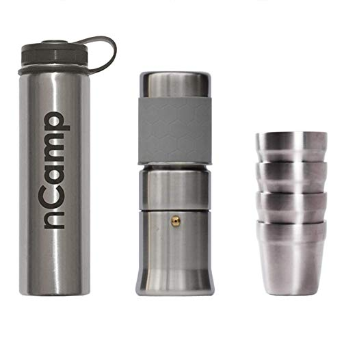 nCamp Camping Coffee Kit, Espresso Style, Includes Coffee Maker, Stainless Steel Water Bottle, and 4 Pack of Coffee Cups, Made for Backpacking, Hiking, Camp, Picnic, Tailgating