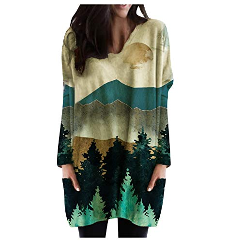 MeikoHome Mountain Printed Pullover Womens Plus Size Crewneck Sweatshirt Long Sleeve Shirts Tops Yellow