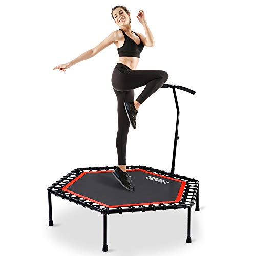 ONETWOFIT 48' Silent Mini Trampoline with Adjustable Handle Bar Fitness Trampoline Bungee Rebounder Jumping Cardio Trainer Workout for Adults or Kids OT088