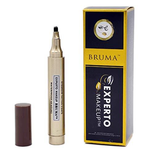 EXPERTO Bruma - Bolígrafo para cejas con efecto microblading de tatuaje, resistente al agua, 24 horas, resistente al agua, sin níquel, 50 aplicaciones, color marrón oscuro