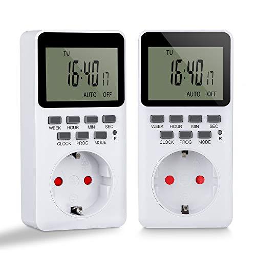Komake Zeitschaltuhr Digital, Steckdose mit 20 Konfigurierbaren Wöchentlichen Programme Programmierbarer Plug-In-Timer-Schalter, HD LCD Display (2 Stück)