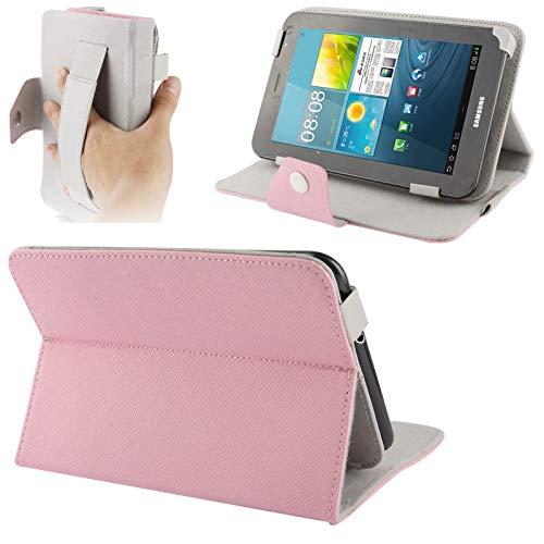 YUNCHAO Caso para Tableta Funda de Cuero de Textura Cruzada con Correa de Mano elástica y Soporte for Tablet PC de 7 Pulgadas, tamaño Ajustable (Azul bebé) Caja Universal Tablet PC (Color : Rosado)