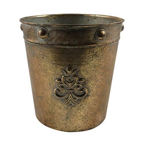 PARTS4LIVING Metall Übertopf Blumentopf mit Ornamenten Pflanzgefäß Vase im antiken Look matt Gold 17,5x17,5 cm