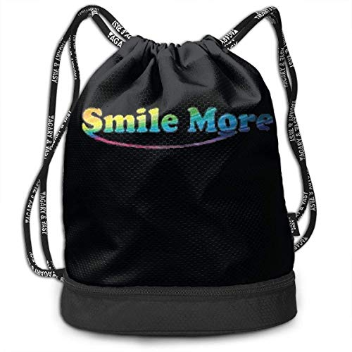 Bolsas de Cuerdas,Bolsas de Gimnasia,Mochilas Tipo Casual, Drawstring Bag Shoulder Rope Bag Storage Protable Backpack Stuff Sack Outdoor Bag Sport Draw Pocket Handbag, Smile More Logo