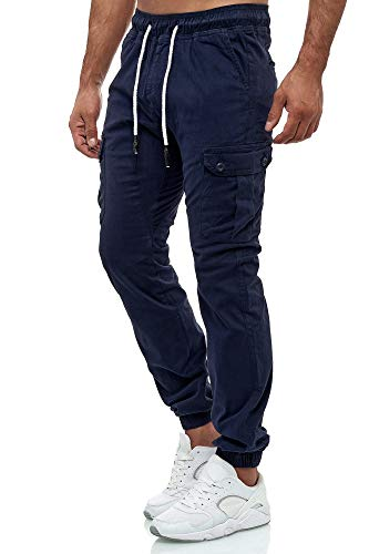 Tazzio Herren Cargo Chino Regular Fit Jogger Cargo harrem Chino Jeans Hose 16610, L, Navyblau