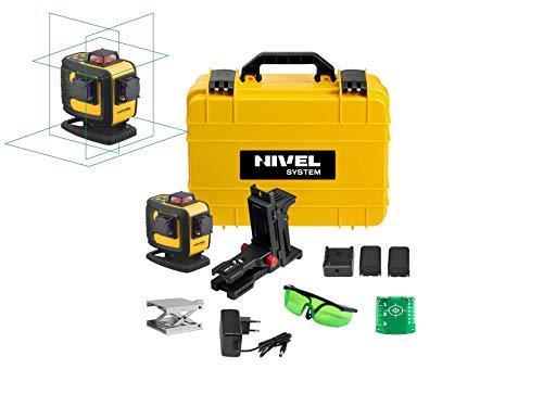 Nivel System Multi Linienlaser CL4D-G Rotationslaser und Linienlaser in einem Gerät | 6 Laserkreuze | Reichweite 30m & bis zu 140m mit Empfänger | Hohe Genauigkeit von +/- 1mm auf 10 m