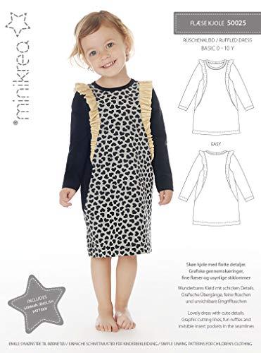 Minikrea dänisches Schnittmuster 50025 Mädchenkleid, Rüschenkleid Gr. 0-10 Jahre (56-146)