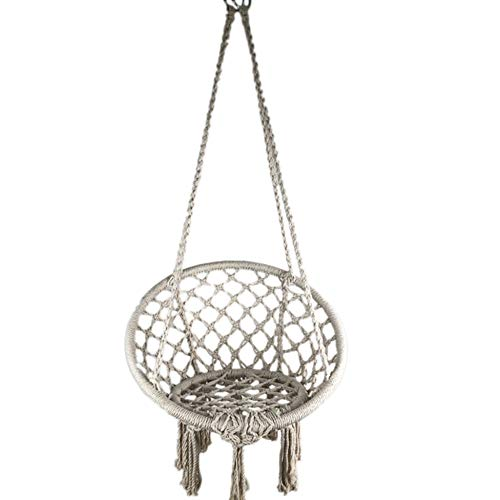 Zakjj Porch Swing Boho Swing Chair Hammock Chair Macrame Swing, Hanging Cotton Rope Hammock Swing Chair For Indoor, Max Weight: 330Pounds (White)