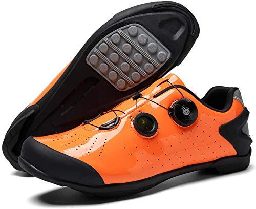 JINFAN Road Cycling Shoes,Men's Bicycle Shoes,Lightweight Wear Resistant Bike Footwear Road Bike Shoes Mountain Bike Shoe,Orange-41EU