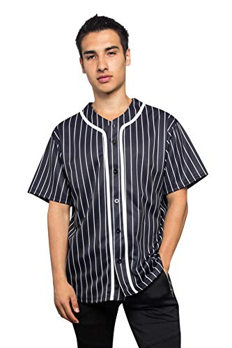 Men's Hipster Hip Hop Button Down Pin Striped Baseball Jersey Short Sleeve Shirt BJ44 - Black - 5X-Large - N9F