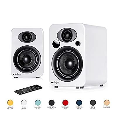 Steljes NS3 Powered Loud Speakers Stereo System Subwoofer British Design Compatible with iPhone through Bluetooth wirelessly(Frost White) by Steljes