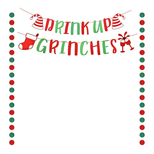 Drink Up Grinches MEZOOM Pancarta con Purpurina de Drink Up Grinches Guirnalda de Navidad Verde y Roja con 2 banderines de puntos circulares decoracin del hogar Fiesta Temtica de Grinches navideo