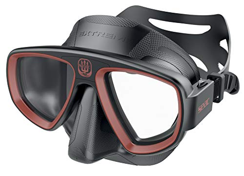 SEAC Unisex's Extreme 50 Diving and Spearfishing Mask with Optional Optical Lenses, Adult, Black/red, One Size