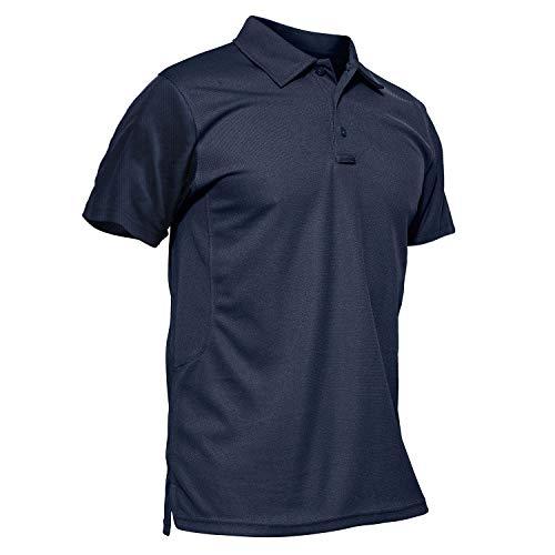 KEFITEVD Outdoor Polo T-Shirt Herren Golf Jagd Kleidung Robust Quick Dry Funktionsshirt Männer Arbeitsshirt Sommer Sportshirt Unifarben mit Kragen Freizeitshirt Dunkelblau XL
