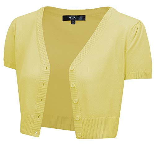 YEMAK Women's Cropped Bolero Short Sleeve Button Down Cardigan Sweater HB2137-BYL-3X Baby Yellow