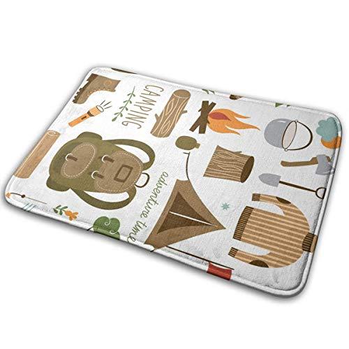 Paillassons Aventure Équipement de Camping Sac de Couchage Bottes Feu de Camp Pelle Hachette Journal Oeuvre D'impression Multicolore 40 cm * 60 cm