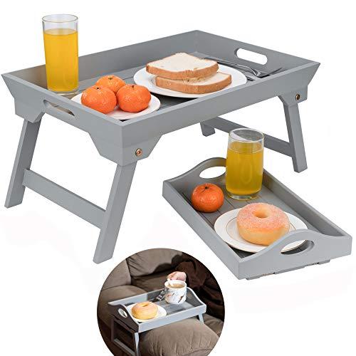 Optyuwah Bandeja de madera para cama con patas plegables y reposabrazos para sofá, como mesa para el sofá, mesa para bandeja, tabla de desayuno en la cama, 48 x 32 cm para el sofá de 30 x 20 cm