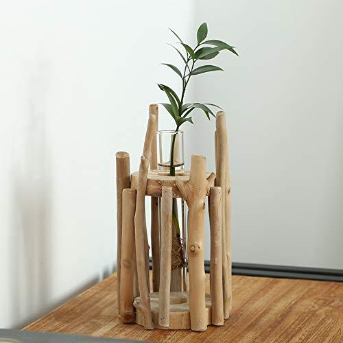 Belupai - Jarrón de cristal con forma de tubo para flores, contenedor hidropónico, decoración del hogar con soporte de estante de madera, Small, 11x11x19cm